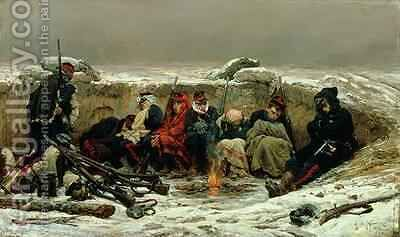 In the Trenches 1874 by Alphonse Marie de Neuville - Reproduction Oil Painting