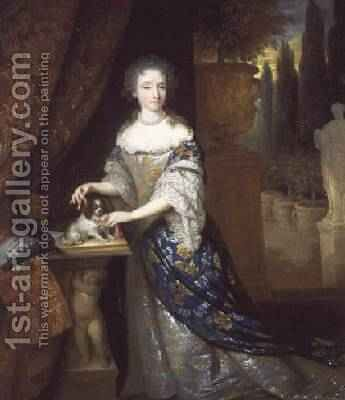 A Portrait of a lady with a Lapdog Seated on a Plinth 1690 by Constantin Netscher - Reproduction Oil Painting