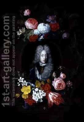 A Portrait of a Man surrounded by a Garland of Flowers 1696 by Constantijn and Heem, D.C.de Netscher - Reproduction Oil Painting