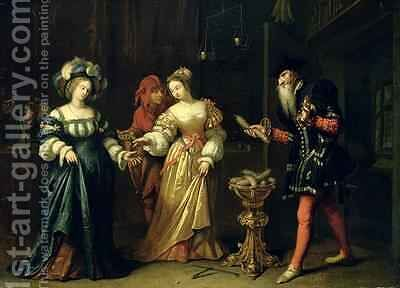 A Masked Joker 1668 by Caspar Netscher - Reproduction Oil Painting