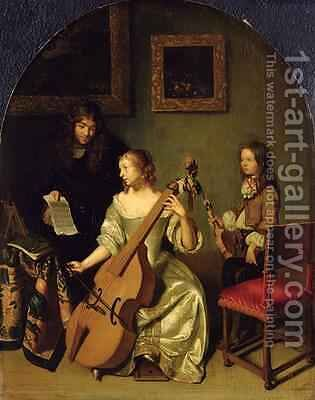The Bassviol Player 1665 by Caspar Netscher - Reproduction Oil Painting