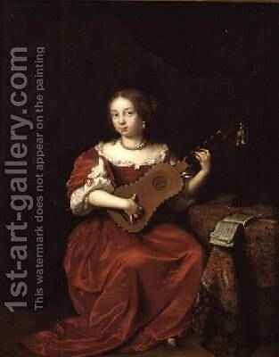 A Lady Playing the Guitar 1669 by Caspar Netscher - Reproduction Oil Painting
