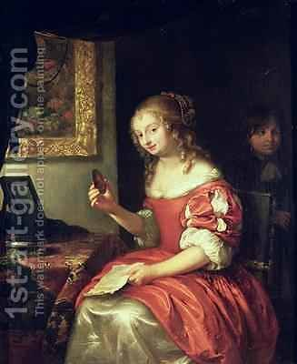 Young Woman with Letter and Locket 1667 by Caspar Netscher - Reproduction Oil Painting