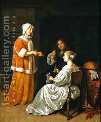 The Seduction 1664 by Caspar Netscher - Reproduction Oil Painting