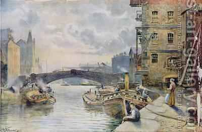 Leeds Bridge from Aire and Calder Navigation Wharf 1911 by Arthur Netherwood - Reproduction Oil Painting
