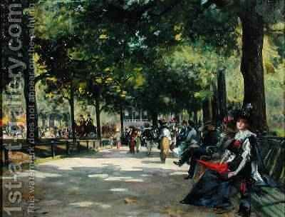 Elegant Figures Rotten Row Hyde Park London by Count Girolamo Pieri Nerli - Reproduction Oil Painting