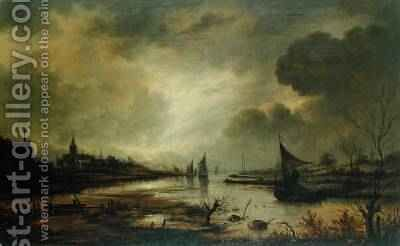 Dutch Town on a River by Moonlight by Aert van der Neer - Reproduction Oil Painting