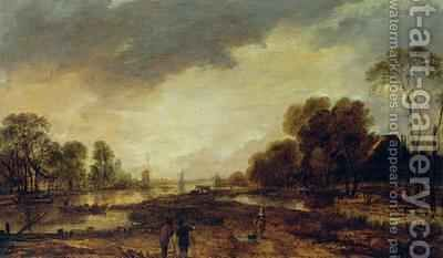 A River Scene Evening 1648 by Aert van der Neer - Reproduction Oil Painting
