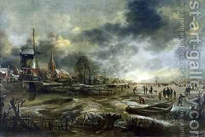 Frozen River Scene by Aert van der Neer - Reproduction Oil Painting