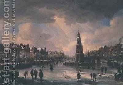 Town on a Frozen River by Aert van der Neer - Reproduction Oil Painting