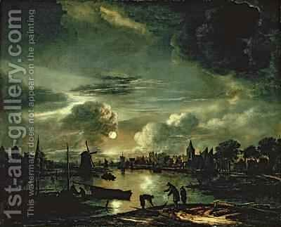 Canal Scene by Moonlight 1645-50 by Aert van der Neer - Reproduction Oil Painting