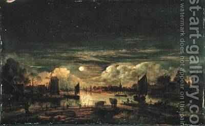 Moonlit Landscape by Aert van der Neer - Reproduction Oil Painting