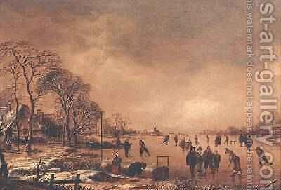 Wooded river landscape in Winter by Aert van der Neer - Reproduction Oil Painting