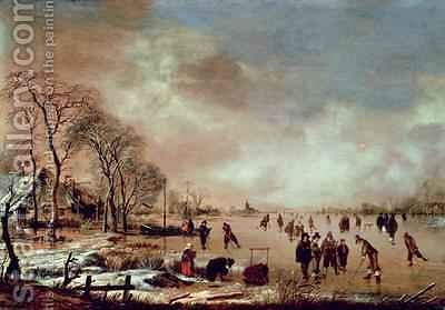 Frozen Canal Scene by Aert van der Neer - Reproduction Oil Painting