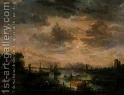 Moonlit scene with fishermen by Aert van der Neer - Reproduction Oil Painting