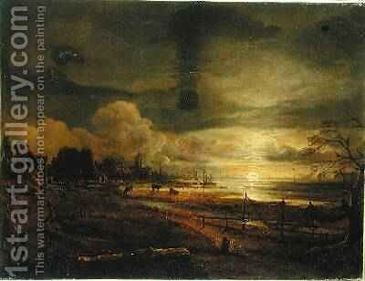 Canal at Moonrise by Aert van der Neer - Reproduction Oil Painting