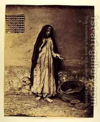 Untitled Beggar in Cairo 1876 by Carlo Naya - Reproduction Oil Painting