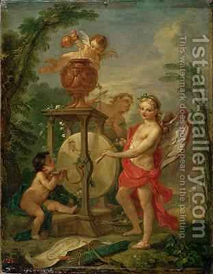 Cupid Sharpening his Arrow 1750 by Charles Joseph Natoire - Reproduction Oil Painting