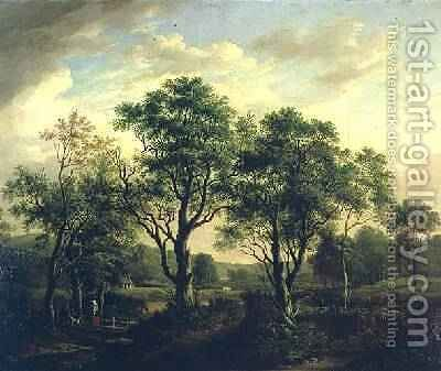 Wooded river landscape with figures and cattle by Alexander Nasmyth - Reproduction Oil Painting