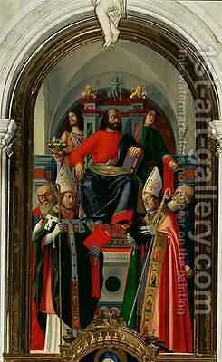 St Mark enthroned with Saints by Giovanni (Giovanni da Udine) Nanni (Nani) - Reproduction Oil Painting