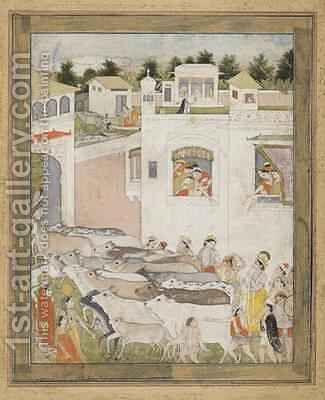 The Hour of Cowdust from Punjab Hills Northern India 1812 by (attr. to) Nainsukh Family - Reproduction Oil Painting
