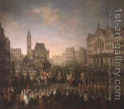 The coronation procession of Joseph II 1741-90 in Romerberg 1764 by Martin II Mytens or Meytens - Reproduction Oil Painting
