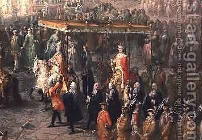 The coronation procession of Joseph II 1741-90 Emperor of Germany in Romerberg 1764 by Martin II Mytens or Meytens - Reproduction Oil Painting
