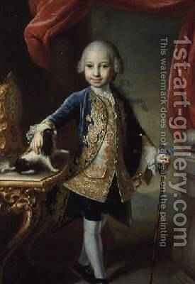 Portrait of a Boy with Pet Spaniel by Martin II Mytens or Meytens - Reproduction Oil Painting