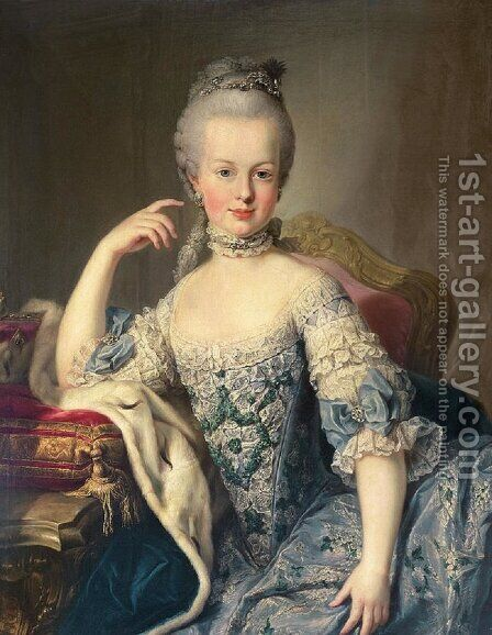 Archduchess Marie Antoinette Habsburg-Lotharingen 1755-93 1767-68 by Martin II Mytens or Meytens - Reproduction Oil Painting