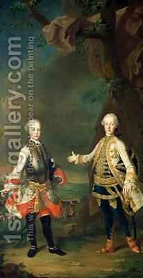 Joseph and Leopold sons of Francis I and Maria Theresa of Austria by Martin II Mytens or Meytens - Reproduction Oil Painting