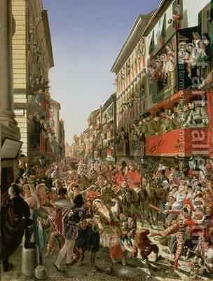 Carnival in Rome 1839 by Aleksandr Petrovich Myasoedov - Reproduction Oil Painting