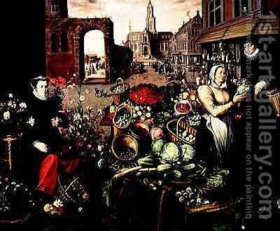 Vegetable and Flower Market by Arnout de Muyser - Reproduction Oil Painting