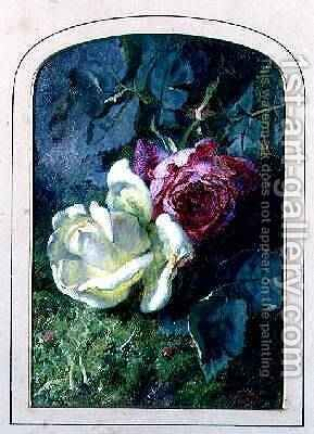 Roses and a ladybird on a mossy bank by Martha Darley Mutrie - Reproduction Oil Painting