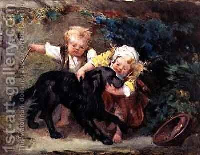 The Happy Trio by Martha Darley Mutrie - Reproduction Oil Painting