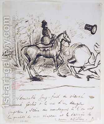 George Sands horse displaying sangfroid behind the stumbling horse of Alfred de Musset 1810-57 by Alfred de Musset - Reproduction Oil Painting