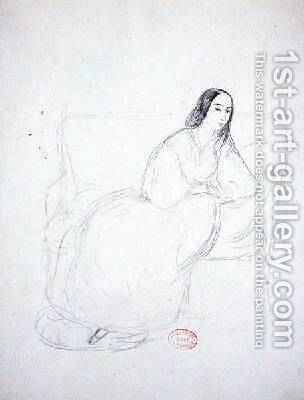 George Sand 1804-1876 seated on a sofa 1833 by Alfred de Musset - Reproduction Oil Painting