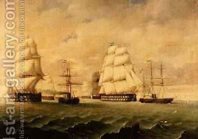 A Battle Fleet and Tugs by J. Murray - Reproduction Oil Painting