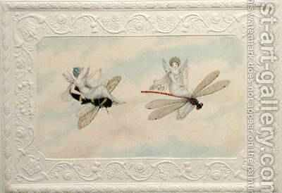 Two fairies flying through the air one seated on a bee and the other on a dragonfly 1817-29 by Amelia Jane Murray - Reproduction Oil Painting