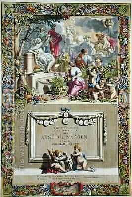 Title page from Nauwkerige Beschryving der Aard-Gewassen by Abraham Munting 1626-83 by Abraham Munting - Reproduction Oil Painting