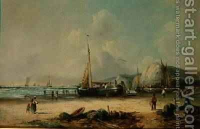Fishing Boats on the Shore by J. Mundell - Reproduction Oil Painting