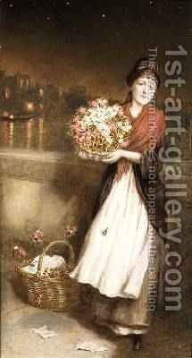 A London Flower Girl 1877 by Augustus Edward Mulready - Reproduction Oil Painting