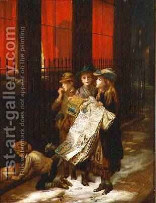 Carol Singers 1889 by Augustus Edward Mulready - Reproduction Oil Painting