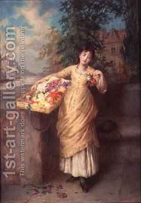 The Flower Seller 1882 by Augustus Edward Mulready - Reproduction Oil Painting