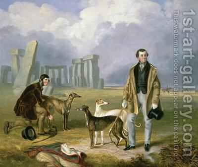 Charles Randell with Greyhounds 1849 by James Flewitt Mullock - Reproduction Oil Painting