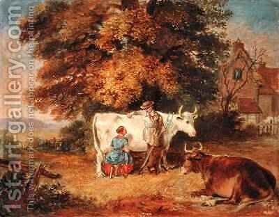 Rural Scene with Cows 1887 by James Flewitt Mullock - Reproduction Oil Painting