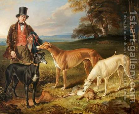 Thomas Harris Kennel-Man to Tom Llewelyn Brewer with Greyhounds 1844 by James Flewitt Mullock - Reproduction Oil Painting