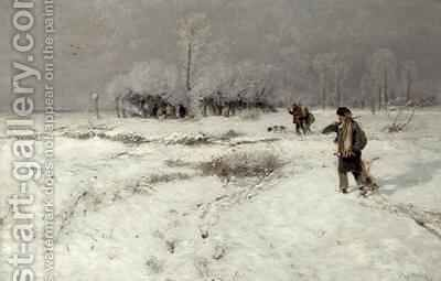 Hunting in the Snow by Hugo Muhlig - Reproduction Oil Painting