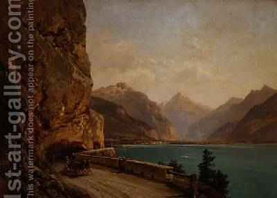 An Italian Lake by Bernhard Muhlig - Reproduction Oil Painting