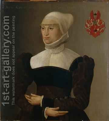 Portrait of a 28 year-old Woman 1563 by Hans Muelich or Mielich - Reproduction Oil Painting