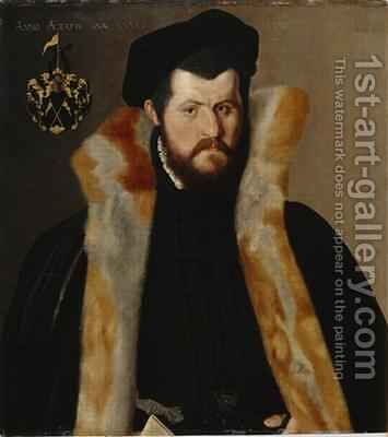 Portrait of a 36 year-old Man 1563 by Hans Muelich or Mielich - Reproduction Oil Painting